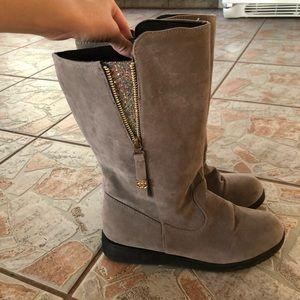 Grey Boots w/Glitter